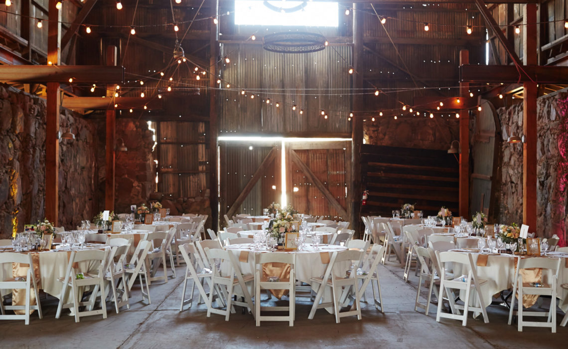 Indoor decor at a barn wedding
